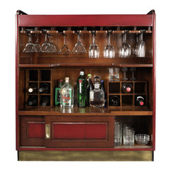 Authentic Models - Authentic Models MF047 Casablanca Bar  Red - You love to hang out at Harry's Bar in Singapore  with its long expanse of polished mahogany and stools  brass rails to lean on  and above all its Singapore Sling and Bloody Marys. Admit it  this bar can't and shouldn't be replicated at home. Here you want a simple  fun  unobtrusive piece of furniture  easy to put away  but also easy to roll into the center of the action. A bar should invite discourse (familial  philosophical) and reminiscences. It should support loudness  but also stillness. This bar exceeds imagination. It has wheels  game boards (three)  and a glass top that displays your baby-pictures or the snapshots from your latest tiger hunt. It also stores oodles of bottles and gear  and wheels into tight corners.
