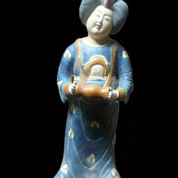 "Chinese Ceramic Tong Style Lady Decor Figure - Dimensions: 8.5"" x 7.5"" x h22.5"""