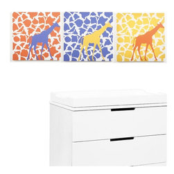 Modern Littles - Rusty Giraffe Walk Canvas Print Set/3 - Think cool, not cutesy, for your child's decor. This easy-care canvas trio features a fun print and poppy colors, perfect for your best boy's room.