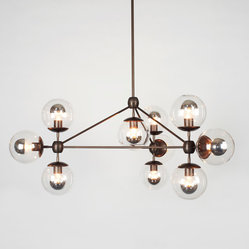 Modo Chandelier - 3 Sided, 10 Globes - Bronze/Clear