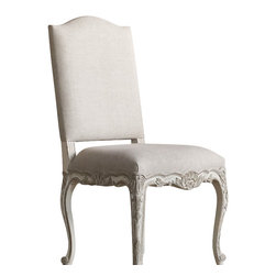Eloquence Inc - Provence Dining Room Chair in Gesso - Spend the evening dining in these Eloquence Provence Dining Chairs.  Decorated in lightly distressed Gesso and Oyster Highlight finish. A gorgeous companion for your dining table! Upholstered in Fog Linen.