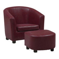 "Monarch Specialties - Monarch Specialties 8105 Accent Chair and Ottoman in Red Leather - Like father like son, like mother like daughter... Children always want to be like their parents. So why not get them this 2 pcs juvenile chair and matching ottoman! This beautifully upholstered red leather look chair is also exquisitely cushioned for your little ones utmost comfort. Let them rest their legs while reading a book, coloring or watching TV. Create a ""Mini-me"" with this unique set!"