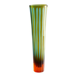 Cyan Design - Cyan Design Large Cyan and Orange Striped Vase X-82110 - Striped detailing adds surprisingly whimsy to the contemporary shape of this large Cyan Design vase. The body features a gentle flair that peaks at the lip, with chiseled glass accenting and a beautiful blend of Cyan Blue and vibrant Orange colors.