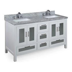 Kitchen Bath Collection - Manhattan 60-in Double Sink Bath Vanity (Carrara/White) - This bathroom vanity set by Kitchen Bath Collection includes a white cabinet with tempered glass windows, soft close drawers and self-closing door hinges, double-thick Italian Carrara marble countertop (an incredible 1.5 inches at the edge!), double undermount ceramic sinks, pop-up drains, and P-traps. Order now and we will include the pictured three-hole faucets and a matching backsplash as a free gift! All vanities come fully assembled by the manufacturer, with countertop & sink pre-installed.