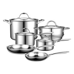 Cook Standard - Cooks Standard Multi-Ply Clad Stainless-Steel 10-Piece Cookware Set, NC-00210 - A wonderful starter set for anyone setting up a first-time kitchen, this 10-piece collection of cookware by Cooks Standard provides an array of everyday essentials. The set consists of a 1-1/2-quart covered saucepan, a 3-quart covered saucepan, an 8-inch and 10-inch open skillet, an 8-quart covered stockpot, and a universal covered steamer insert that fits both the 1-1/2-quart and 3-quart pan. Use the saucepans for making homemade marinara sauce, the stock pot for boiling pasta or cooking soups and stews, and the skillets for making pancakes or sauteing vegetables. The steamer insert allows for healthfully steaming broccoli, pea pods, and other fresh vegetables.