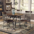 Hillsdale - Hillsdale Montello 5-Piece Round Dining Table Set - Hillsdale - Dinette Sets - 41541DTBC45 - Historic tradition and modern dynamics combine in the Montello Round Table Dining Set. Intricate castings and elegantly curved legs combine to create a table with grace movement and elegance. This transitional style dining set fuses modern and classic aesthetics for a highly original result.