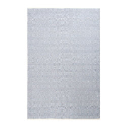 """Escape Sky Indoor/Outdoor Rug - 3'6"""" x 5'6"""" - Refined yet playful, the pattern of the Escape Sky Indoor-Outdoor Rug is vibrant even in its dreamy, low-key pastel blue and white palette. Fine lines leap and angle over the surface for an active and moving look. Not only is the rug remarkably durable and easy to care for with its low-profile flat weave and manmade fiber content; it's even reversible to extend its life."""