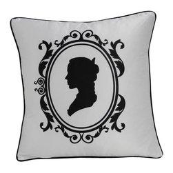 VIG - Modrest Transitional Black And White Print Throw Pillow, White - Modrest Transitional Black And White Print Throw Pillow