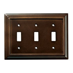 Liberty Hardware - Liberty Hardware 126344 Wood Architectural WP Collect 4.88 Inch Switch Plate - The Liberty Architectural Wood 3-Gang Espresso Switch Wallplate is durably made from MDF and features a rich espresso finish to help enhance your decor. It houses 3 switches and includes mounting hardware. Width - 4.88 Inch, Height - 6.8 Inch, Projection - 0.4 Inch, Finish - Espresso, Weight - 0.35 Lbs.