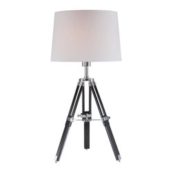 Lite Source - Lite Source Jiordano Contemporary Table Lamp XSL-87612 - The classic tripod design of this Lite Source contemporary table lamp makes it ideal for maritime themes, beach themes, contemporary, classic or even traditional decor schemes. From the Jiordano Collection, the base features a combination of Black Wood and Chrome finishes paired with an off-White Fabric shade.