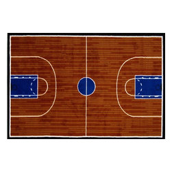 Fun Rugs - Fun Time - Basketball Court Kids Rugs - 39 x 58 in. - Your child's room is a natural extension of them. Add these innovative designs to spruce up any child's decor.