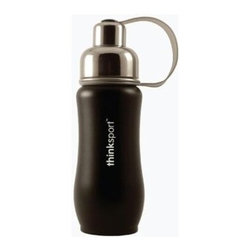 Thinksport - Thinksport Stainless Steel Sports Bottle - Black - 12 Oz - Built to fit your active lifestyle, thinksport Stainless Steel Insulated Sports Bottles provide an alternative to bottles containing Bisphenol-A (BPA). thinksport Stainless Steel Insulated Sports Bottles are built tough and super insulated to keep the contents cold or hot for hours. This insulated bottle is double-walled and vacuum-sealed stainless steel construction. When you fill your insulated bottle you won't feel the temperature of the contents; now you won't ever have to grab a blazing hot bottle or a freezing cold one either. You can fill our bottle with ice, your favorite drink and enjoy a cold drink without the bottle sweating all over your gym bag, backpack, or desk. thinksport bottles elegant design features a wide mouth opening (for ease of filling and cleaning) and a smaller polypropylene spout (for convenient drinking). thinksport bottles also feature a removable interior mesh filter that keeps ice from blocking the drinking spout and allows users to conveniently brew loose leaf tea on the go or make campfire coffee. The thinksport insulated bottle is a high-quality insulated sport bottle for about the same price as the other guys  basic single-walled bottles. thinksport bottles are made of 18/8 medical-grade 304 stainless steel and do not have any type of potential harmful liner. thinksport products address the growing concern of toxic chemicals leaching from consumer products. All thinksport products are free of bisphenol-A (BPA), lead, PVC, phthalates, melamine, nitrosamines, and biologically toxic chemicals. How do you care for my thinksport bottle? thinksport recommends hand washing your bottles, however bottles are dishwasher safe, be sure to remove the cap and strap first. thinksport Stainless Steel Insulated Sports Bottles are great for the beach, tailgating, bicycling, camping, gym, and for keeping your drinks hot or cold at the office. Size: 350ml (12oz), 8  x 2.5  wide, Color: Black