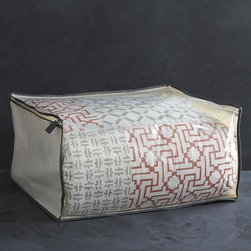 "Large Storage Bag with Grey Trim - Keep your blankets, linens and other fine garments in pristine condition with our exclusive storage bag collection. Sturdy fabric bag with grey trim stores bedding and off-season clothes with a clear-view top and ""U"" zipper with leather pull."
