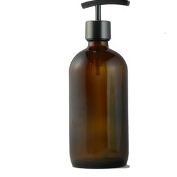 Southern Home Supply - Amber Apothecary Dispenser With Modern Oil Rubbed Bronze Pump - Our Bath Bottle line includes a huge variety of beautiful and unique soap dispenser bottles. Save money and help the environment by switching to a reusable glass dispenser instead of disposable plastic dispensers.