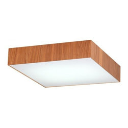 ParrotUncle - Natural Color Russia Ash Wood Frame Square Cube Flush Mount, Small - This ceiling lamp is in white fabric shade wraped with russia ash wood. It is a contemporary ceiling lighting which is perfect for your modern style home decoration, suiable for living room, dining room and bedroom.