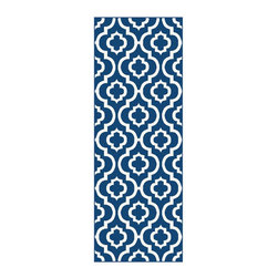 Tayse Rugs - Contemporary Runner Rug in Navy - Machine made. Plush and high density feel. Easy to care and durable. Vacuum and spot clean. Made from polypropylene. Pile height: 0.39 in.. 2 ft. 7 in. L x 7 ft. 3 in. W (10 lbs.)Contemporary Area Rug features an architectural Moroccan tile pattern with old world charm. Saturated with exciting color, this contemporary home decor accent frieze rug evokes a feeling of timeless style and foreign travel, but with current flair.