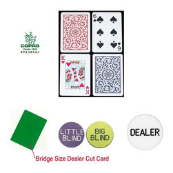 Trademark Global - Copag Bridge Size Regular Index Playing Cards - Dealer kit includes:. Bridge-sized Cut Card (2.25 in. x 3.5 in.). Casino-sized Dealer Button  (2 in. Dia.). Big & Little blind Buttons (1.25 in. Dia.)100% Plastic, these cards will last for years. Bridge-sized (2.25 in. x 3.5 in.) with Red and Blue paisley design decks and regular-sized index. COPAG plastic playing cards are made from a exclusively engineered PVC plastic. These cards can handle the wear and tear of normal games, outlasting paper cards up to 500 times. Completely washable, you don't need to worry about soiled cards. A quick wipe with a damp wash cloth, then dry and they are ready to go. Each set comes in its own hard plastic case for storage. Whether you play solitaire, have a kitchen table game or manage a card room - once you try COPAG you will never use any other cards again.