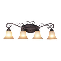 Trans Globe Lighting - Garland Four-Light Wall Sconce -Rubbed Oil Bronze - - Glass Type: Antique Amber Scavo - Ribbed  - Indoor use  - Material: Steel  - Bulb not included  - Oil rubbed bronze finish  - Amber Scavo Glass shades  - Decorative scroll iron work  - Victorian home decor lighting  - Matching indoor collection  - 1 Year parts or replacement  - Oil rubbed bronze finish with antiqued amber scavo glass with Victorian style decorative ribbon iron work brings home a traditional style. Trans Globe Lighting - 21044ROB