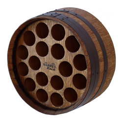 "1/2 Barrel Wine Rack - Our unique handcrafted wine barrel wine racks are made from recycled barrels.  We lovingly recondition these veterans and re-purpose them in a patented eco-friendly design, giving new life to old barrels.  The 18"" depth allows the product to easily be placed on tables or sideboards and yet retain the authentic look of a full wine barrel.  We use a sealing stain to enhance the beauty and seal the wood.  A special copper/bronze finish on the hoops further preserves and adds to the overall beauty. Up to 18 bottles can be accommodated.  Barrels can also be configured in a single or nested pyramid stack of 3, 5 or 6 barrels.  In order to support the barrels in a horizontal position, cradles must be ordered for the bottom and wedges for the upper barrels.  Each barrel is skillfully re-purposed so please allow 2-3 weeks when ordering."