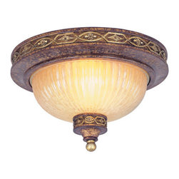 Livex Lighting - Livex Lighting 8541 2 Light 80W Flushmount Ceiling Light with Medium Bulb Base a - 2 Light 80W Flushmount Ceiling Light with Medium Bulb Base and Hand Crafted Gold Dusted Art Glass from Seville SeriesProduct Features: