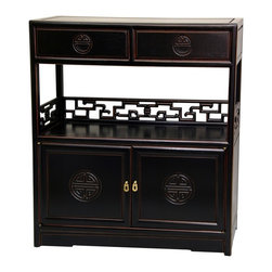 Oriental Unlimited - Rosewood Long Life Display Cabinet in Antique - Auspicious Shou medallions for longevity. Key design shelf rails for luck. Classic Oriental joinery and cabinetry with authentic floating panels. Asian style tea cabinet crafted from solid kiln dried Rosewood. Beautiful hand rubbed distressed Black lacquer finish. Over-all: 30 in. W x 10 in. D x 34 in. H (39 lbs.). Cabinet: 29 in. W x 9 in. D x 13 in. H. Shelf: 29 in. W x 9 in. D x 11 in. H. Drawers: 12 in. W x 7.5 in. D x 2.25 in. H