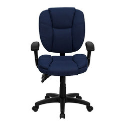 Flash Furniture - Mid-Back Navy Blue Fabric Multi-Functional Ergonomic Task Chair with Arms - This Office Task Chair has multi-functional controls which makes this chair a pleasure to use. When standard office chairs have your legs, back, and neck aching, this chair is the right choice for you. Featuring an overstuffed seat and back that allow true ergonomics, this chair is sure to be the cure for all your chair-related fatigue.