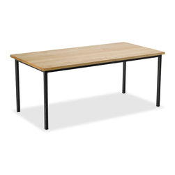"""Vermont Farm Table - Maple (S) Metal Dining Table, 1.5"""" Legs, Seats 10 (42"""" X 108"""") - Handcrafted to last for generations with great attention to fine detail and balanced proportions. Each Vermont Farm Table is constructed with solid welded joinery and finished with environmentally friendly oils."""