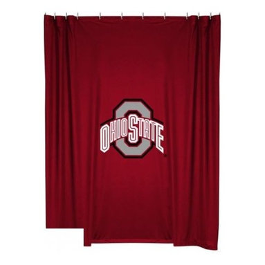 Sports Coverage - Ohio State Buckeyes Shower Curtain - This 72 x 72 officially licensed Ohio State University Buckeyes shower curtain of jersey material with logo is perfect for any bathroom in need of a little extra team spirit. It weighs approximately one pound and is screen printed with Plastisol. Shower Curtain is 100% Polyester Jersey
