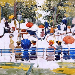 """Maurice Prendergast Central Park (Central Park, New York City) Print - 16"""" x 24"""" Maurice Prendergast Central Park (also known as Central Park, New York City) premium archival print reproduced to meet museum quality standards. Our museum quality archival prints are produced using high-precision print technology for a more accurate reproduction printed on high quality, heavyweight matte presentation paper with fade-resistant, archival inks. Our progressive business model allows us to offer works of art to you at the best wholesale pricing, significantly less than art gallery prices, affordable to all. This line of artwork is produced with extra white border space (if you choose to have it framed, for your framer to work with to frame properly or utilize a larger mat and/or frame).  We present a comprehensive collection of exceptional art reproductions byMaurice Prendergast."""