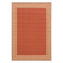 nuLOOM - nuLOOM Indoor/ Outdoor Greek Key Porch Rug, Brick, (7.10' X 10.10') - Material: 100% Polypropylene