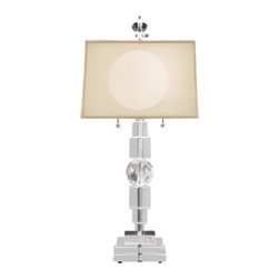 Schonbek Lighting - Schonbek Lighting 10512N-40 Rock Polished Silver Table Lamp - 2 Bulbs, Bulb Type: 40 Watt G9 Halogen, Bulbs Included; Product made-to-order, 6-8 week lead time