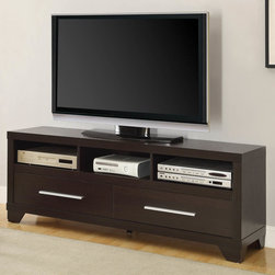 Coaster - Cappuccino TV Stand - A rich cappuccino finish along with sleek metal drawer pulls give this entertainment unit a casual appeal for your home. The versatile TV stand has storage with two drawers, three center open compartments, and shelf for your television. Create an entire wall unit by adding two matching media towers and bridge to frame the TV stand.