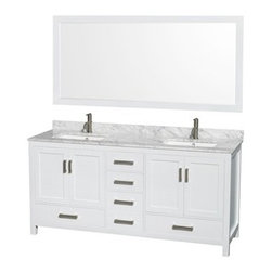 "Wyndham Collection(R) - Sheffield 72"" Double Bathroom Vanity by Wyndham Collection - White - Distinctive styling and elegant lines come together to form a complete range of modern classics in the Sheffield Bathroom Vanity collection. Inspired by well established American standards and crafted without compromise, these vanities are designed to complement any decor, from traditional to minimalist modern.Available in multiple sizes and finishes.The Wyndham Collection is an entirely unique and innovative bath line. Sure to inspire imitators, the original Wyndham Collection sets new standards for design and construction.FeaturesConstructed of environmentally friendly, zero emissions solid wood, engineered to prevent warping and last a lifetime12-stage wood preparation, sanding, painting and finishing processHighly water-resistant low V.O.C. sealed finishBeautiful transitional styling that compliments any bathroomPractical Floor-Standing DesignMinimal assembly requiredDeep Doweled DrawersFully-extending under-mount soft-close drawer slidesConcealed soft-close door hingesCounter options include Ivory Marble and White Carrera Marble Counter includes 3"" backsplashAvailable with Porcelain undermount sink(s)Oval sink(s) available with pre-drilled 8"" Widespread 3-Hole faucet mountsSquare sink(s) available with pre-drilled Single-Hole faucet mounts. Additional holes may be drilled by customer on site.Faucet(s) not includedMetal exterior hardware with brushed chrome finishFour (4) functional doorsFive (5) functional drawersPlenty of storage spaceVariations in the shading and grain of our natural stone products enhance the individuality of your vanity and ensure that it will be truly uniquePlenty of counter spaceHow to handle your counterSpec SheetSpec Sheet for 24"" MirrorSpec Sheet for 70"" MirrorSpec Sheet for Medicine CabinetSpec Sheet for Linen TowerInstallation GuideInstallation Guide for Medicine CabinetNatural stone like marble and granite, while otherwise durable, are vulnerable to staining from hair dye, ink, tea, coffee, oily materials such as hand cream or milk, and can be etched by acidic substances such as alcohol and soft drinks. Please protect your countertop and/or sink by avoiding contact with these substances. For more information, please review our ""Marble & Granite Care"" guide."