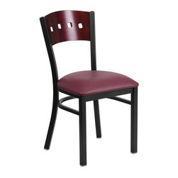 Flash Furniture - Hercules Back Metal Restaurant Chair - Heavy Duty Metal Restaurant Chair. Mahogany Wood Square Style Back. Burgundy Vinyl Upholstered Seat. 2.5 in.Thick 1.4 Density Foam Padded Seat. 18 Gauge Steel Frame. Welded Joint Assembly. Curved Support Bar. Black Powder Coated Frame Finish. Plastic Floor Glides. CA117 Fire Retardant Foam. Designed for Commercial Use; Suitable for Home Use. Seat-Size: 16.5 in. W x 16.75 in. D. Back Size: 16 in. W x 15.25 in. H. Seat Height: 19.5 in. H. Overall Dimension: 17 in. W x 21 in. D x 32 in. H (17 lbs)Provide your customers with the ultimate dining experience by offering great food, service and attractive furnishings. This heavy duty commercial metal chair is ideal for Restaurants, Hotels, Bars, Lounges, and in the Home. Whether you are setting up a new facility or in need of a upgrade this attractive chair will complement any environment. This metal chair is lightweight and will make it easy to move around. For added comfort this chair is comfortably padded in vinyl upholstery. This easy to clean chair will complement any environment to fill the void in your decor.