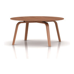 Eames Plywood Coffee Table by Herman Miller - Charles and Ray Eames designed the molded plywood coffee table in 1946 to complement their famous molded plywood chairs. Lightweight and movable, this imaginative table is unmistakably Eames with its thin, slightly indented top and gently curved legs. This coffee table first came to Herman Miller's attention when their design director George Nelson saw it and other Eames molded plywood products at a showing in the Barclay Hotel in New York City in the mid-1940s. Nelson contacted the Eameses, and soon afterward they were designing for Herman Miller.