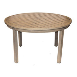 """Grandin Road - Terrazza Portico Round Outdoor Dining Table - The look of distinctively weathered wood without concerns over the elements, thanks to hearty, hand-painted aluminum construction. Crafted from heavy-gauge aluminum tubing with solid cast aluminum accents. For the ultimate in comfort, add plush, all-weather Sunbrella® cushions in a wide variety of patterns and colors. Chairs feature an iconic """"X""""-back design. Each table has an umbrella hole. A wonderful, modern interpretation of classic Italian cross-back designs, our Terrazza Outdoor Furniture Collection instantly transforms any empty open-air space into a European-inspired escape.  . . For the ultimate in comfort, add plush, all-weather Sunbrella cushions in a wide variety of patterns and colors.  . . USA and imported materials."""