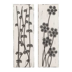 Benzara - Pine Wood Metal Wall Decor Assorted with Beautiful Wild Floral - Pine Wood Metal Wall Decor Assorted with Beautiful Wild Floral. Some assembly may be required.