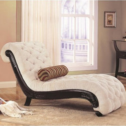 Caroline Accent Traditional Chaise - This traditional style chaise creates a grand style statement for inviting accent seating. The luxurious chaise features scroll design with dark finish carved wood trim and button tufted accents on the fabric. Relax in timeless style with this chaise lounge. The Old World appeal adds class to your decor in an instant. (Pillow shown not included.)