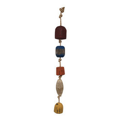 Nautical Wooden Buoys on a Rope 37 In. - This set of distressed wooden buoys on a rope adds a finishing touch to rooms, restaurants, and bars with a nautical or beach theme. The twisted rope measures 37 inches long, with the widest buoy measuring 3 1/2 inches wide. These buoys look great hanging on porches, patios, and decks and they are sure to be admired.