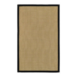 None - Woven Town Sisal and Black Cotton Border Rug (5' x 7'9) - This sisal and cotton border rug is indoor/outdoor friendly and features a neutral solid pattern. With a tan and black finish, this handsome transitional rug has a 0.345 inch pile that is perfect for all seasons and matches any decor.