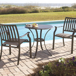 Panama Jack - Panama Jack Island Breeze 3-piece Slatted Dining Bistro Group - Panama Jack's Island Breeze bistro set incorporates a tubular aluminum frame in a unique powder coated espresso finish that will not rust. This versatile dining set is weather proof and long lasting so you can enjoy outdoor eating for years to come.