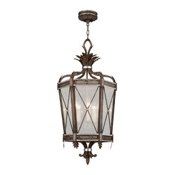 Fine Art Lamps - Villa Vista Lantern, 809440ST - Grace your foyer or dining room with this elegant hexagonal-shaped lantern. Finished in antique driftwood with silver accents, six candelabra-style lights shine brightly through the seedy glass panels.