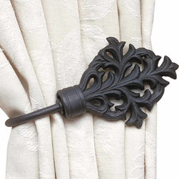 """Renovators Supply - Black Wrought Iron Curtain Tieback - Decorative curtain tieback is 7"""" long and projects 3 1/2""""."""