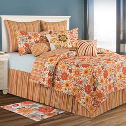 C and F Enterprises Giselle Bedding Set - Vintage colors and a fresh flower and stripe design give the C and F Enterprises Giselle Bedding Set a retro-fabulous style. This quilt and bedding collection is filled with juicy orange, yellow, and red with touches of avocado green and soft white. A stunning way to dress your bed, this bedding set features a quilt with oversized flowers that reverses to garden-fresh stripes. The ultimate in luxury, this collection is crafted of comfy cotton and is machine-washable. Customize it by adding on a coordinating dust ruffle, pillow shams, and a variety of plump decorative throw pillows. It comes in your choice of size.Quilt Dimensions:Twin: 86L x 66W inchesFull/Queen: 92L x 90W inchesKing: 108L x 92W inches