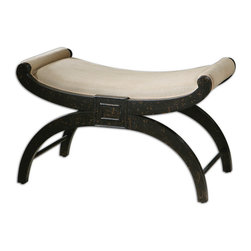 Uttermost - Uttermost Corona Bench - Solid Poplar, Hand Finished in Weathered Black with Welt-trimmed, Light Tan Linen Seat and Rolled Arms.