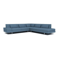 """TrueModern - Hamlin 118"""" x 118"""" Corner Sectional Sofa with Bumper in Calvin Sea Blue - Sit down and relax with this clean lined Hamlin 118"""" x 118"""" Corner Sectional Sofa with Bumper in Calvin Sea Blue that has a medium density cushion. The stitching is made with a classic baseball stitch and the same stitch creates a cross pattern for both the back pillows and back rest. The legs are made of brushed nickel, steel tube. *Sofa Depth: 37"""" *Seat Height: 16"""""""