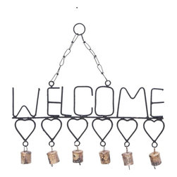Benzara - Welcome Wind Chimes with Gangling Metal Hearts and Bells - Wondering what you could do to deck up your home this New Year? Or, searching for a perfect gift for your best friend's housewarming party? Just consider this Metal Welcome Wind Chime. It features a warm WELCOME design crafted with metal. It helps convey your heartfelt invitation to your guests. Below the metallic word is a horizontal series of cute metal hearts that adds more weight to your emotions. Attached to each heart via a metal link is a bell that emits a sweet acoustic melody when it sways with the breeze. You could hang this wind chime up near your doorway so that it is the first thing your guests see, or put it up in your patio or balcony. This wind chime has strong metallic chains and a link at the top. Made from durable and rustproof metal, it sustains adverse climatic conditions without any adverse effect..