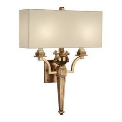 Robert Abbey - Robert Abbey Mary McDonald Leopold Wall Sconce 2531 - Rectangular Ivory Cotton Shade with Rolled Edge Hem