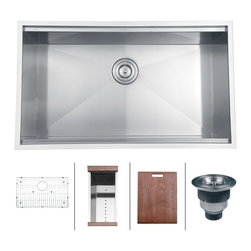 "Ruvati - Ruvati RVH8300 Undermount 16 Gauge 32"" Kitchen Sink Single Bowl - The combination of sharp, zero-radius corners with ledges on the front and back that act as a track for your matching cutting board make the Roma series a chef�s dream. Each Roma sink come with bottom rinse grids, a cutting board and basket strainers."