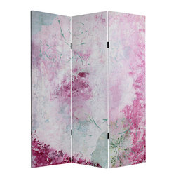 Oriental Furniture - 5 ft. Tall Pink Boudoir Canvas Room Divider - Collage artist Gita has combined textures, painted papers and printed leaves to produce this delicate, atmospheric screen. Soft pinks and creamy whites are accentuated with lovely floral touches in an array of pastel greens.